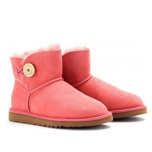 UGG mini Bailey Button Boots Tea Rose Pink 7